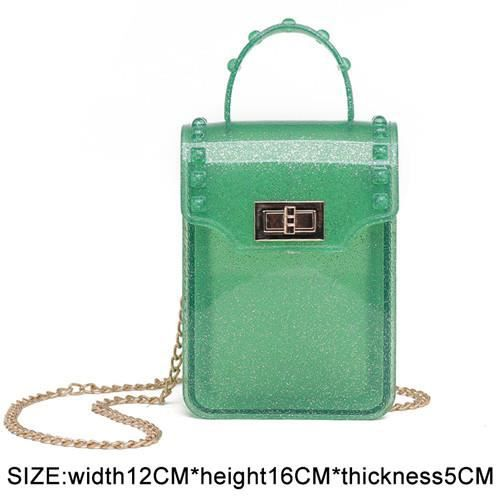 SAC A DOS,Femmes sac à dos Transparent pour enfant Mini petit sac à dos PVC gelée claire sac à dos lettre - Type flap green