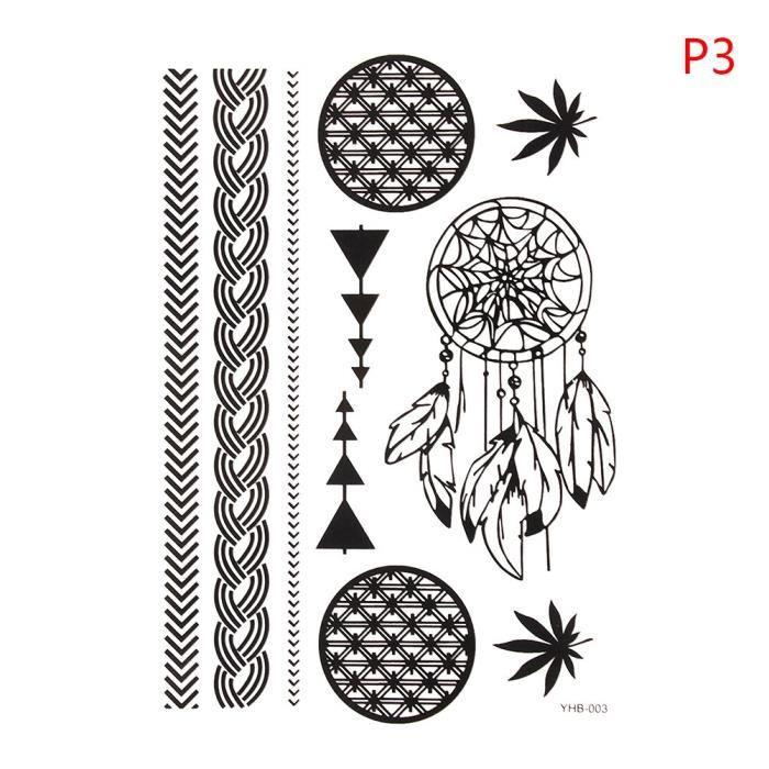 LB4654 Sexy dentelle noir henné temporaire tatouage autocollant femmes main bijoux imperméable faux corps Art tatouage autocollants
