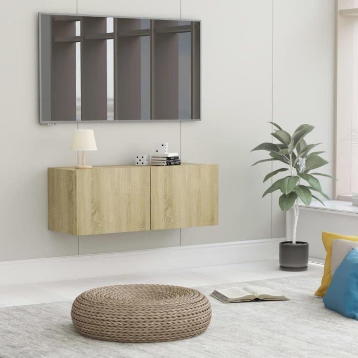 Meuble TV Mural Design Tendance Style Naturel - Avec 2 Portes Abattantes - Chêne sonoma Aggloméré - 80x30x30 cm