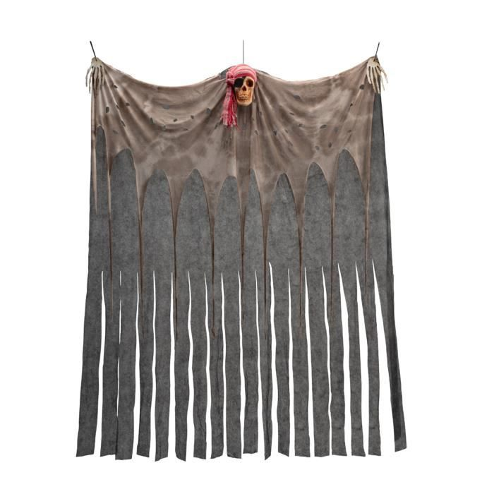 Rideau avec crâne pirate 200 x 150 cm - Argenté / gris