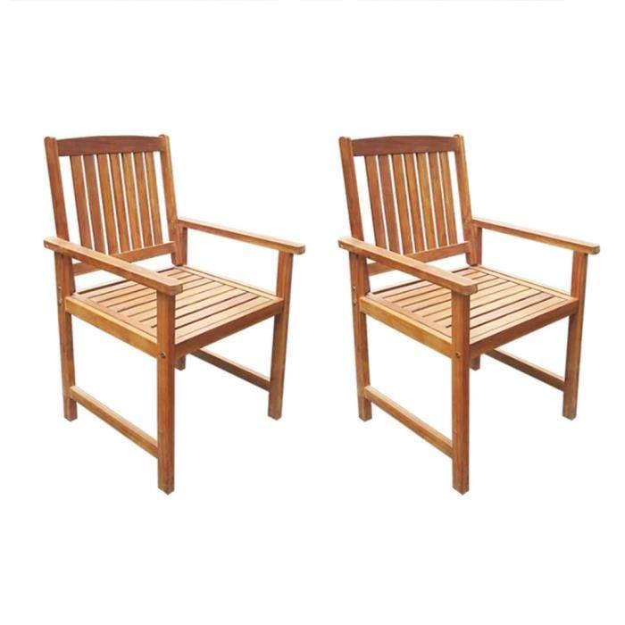 Lot de 2 Chaises de jardin Fauteuil de Jardin - Chaise Fauteuil Bois d'acacia massif Marron Nouveau *183362
