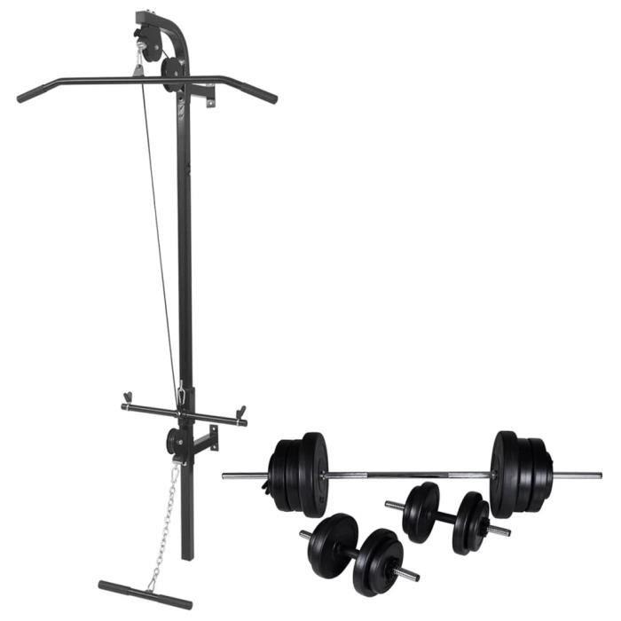 Tour de musculation murale Station musculation Barre de Traction dips Banc de Musculation Gymnastique -avec jeu d'haltères et poids