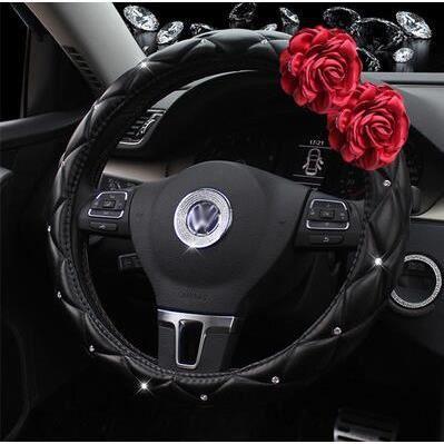 Accessoires auto,Couvre volant avec fleur Rose rouge cristal strass siège cou oreiller housse de - Type Steering Wheel Cover