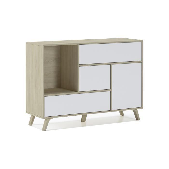 Buffet WIND 1 porte, 3 tiroirs, structure de couleur Puccini, couleur de porte et tiroirs Blanc. 120x40x86cm.