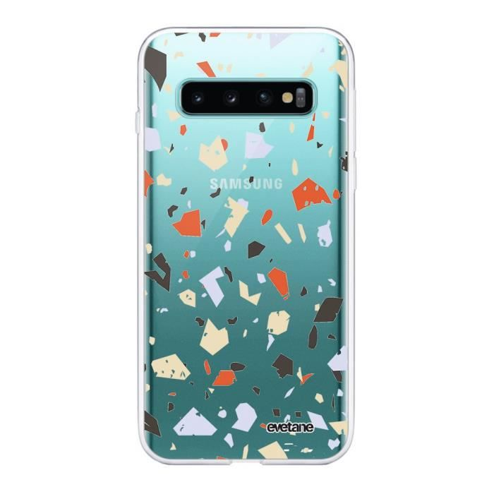 Coque Samsung Galaxy S10 Plus 360 intégrale transparente Terrazzo Blanc Ecriture Tendance Design Evetane.