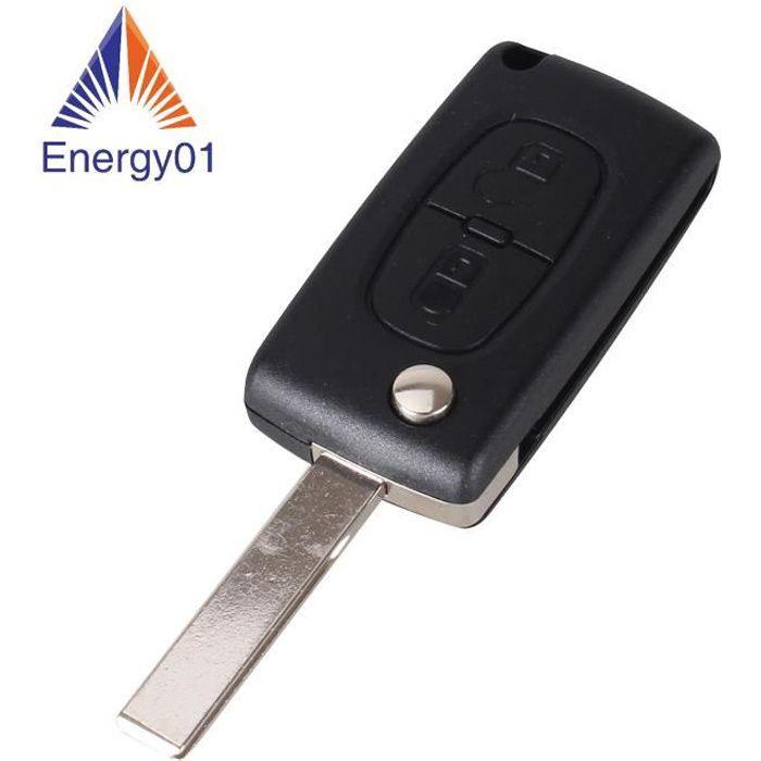 Coque cle de voiture - 2 boutons CITROEN C2 C3 C4 C5 C6 C8 Xsara picasso lame avec raynure - CE0536 emplacement pile dans la coque