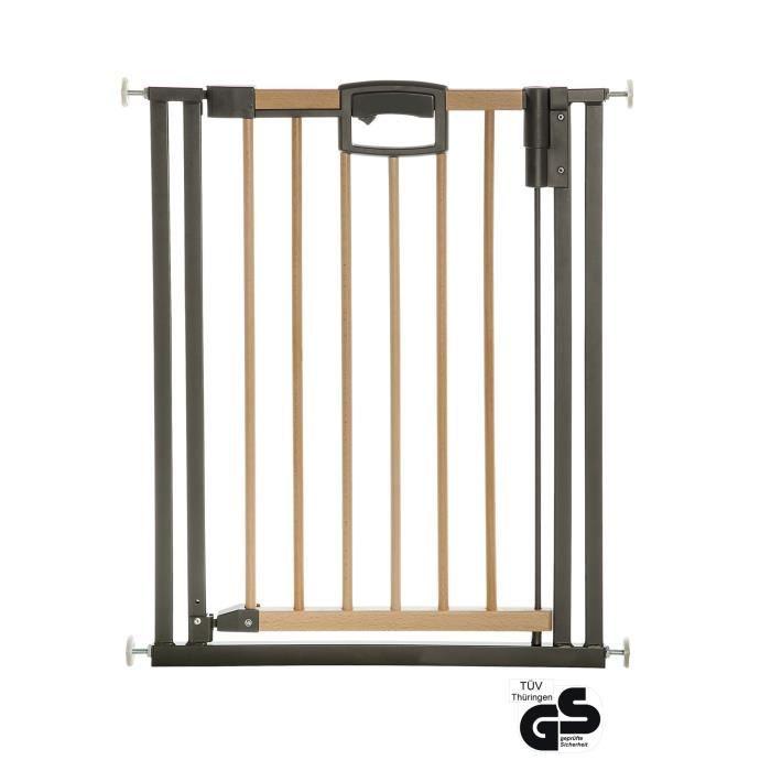 Barrière de porte et d'escalier Easylock Wood Plus 80,5 cm - 88,5 cm Natur-Anthrazit