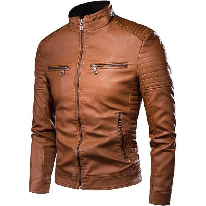 Veste moto vintage en cuir PU pour homme