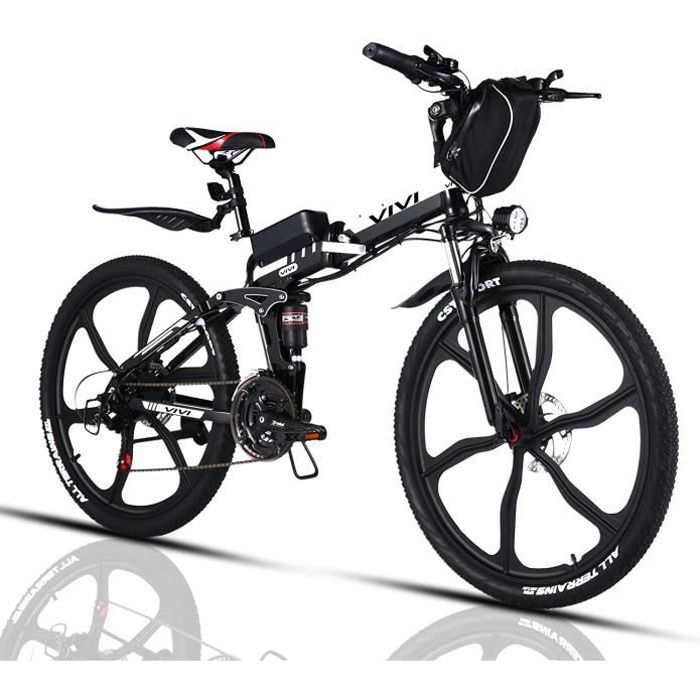 VIVI Vélo Électrique Pliable Adulte Vélo de Montagne avec 26- Roue Intégrée- Moteur 350W-250W- Batterie 36V-8Ah- Engrenages 21-7