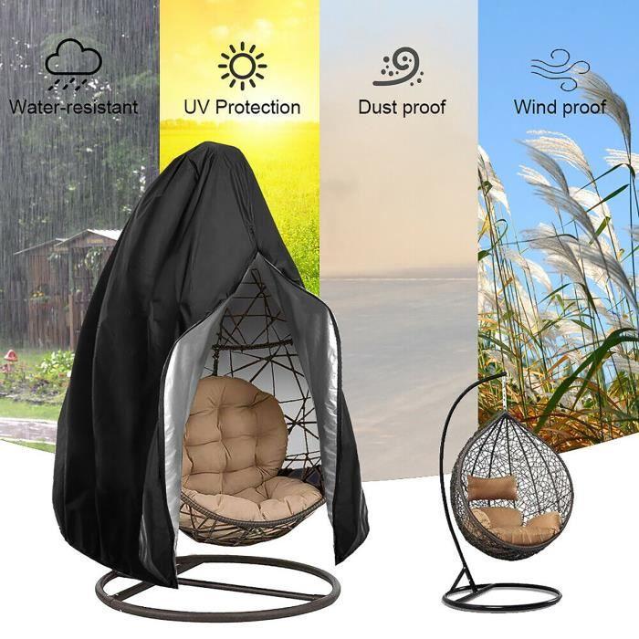 Housse de Fauteuil Suspendu Jardin - Couverture Housse de Protection pour Oeufs Chaise Imperméable 190 * 115cm - noir