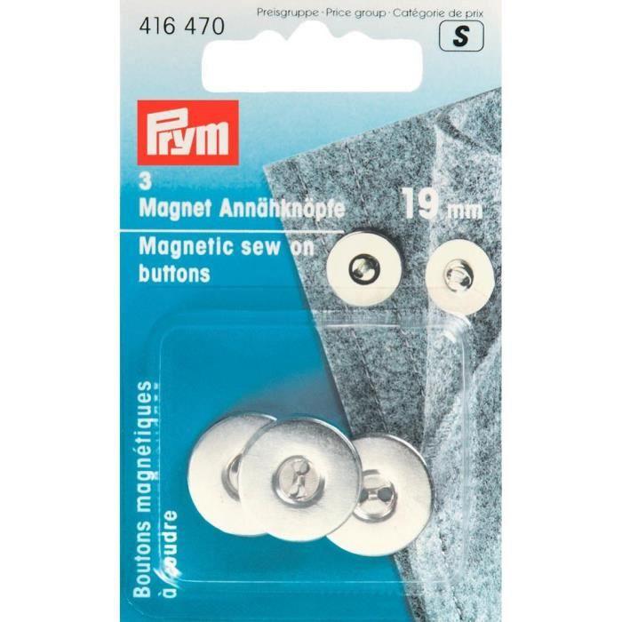 PRYM Boutons Magnétiques à Coudre 19 mm Argent