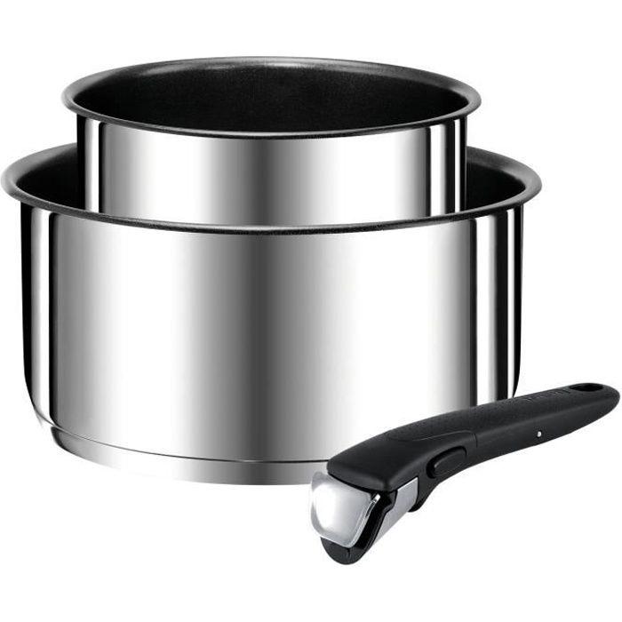 TEFAL Set de 2 casseroles Ingenio Preference + poignées amovible - Inox induction