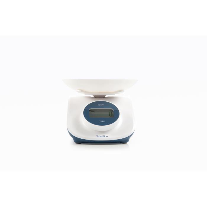 TERRAILLON 14770- Balance culinaire éléctronique Dynamo Curve - 3-5kg - Affichage LCD - Fonction Tare, Arrêt auto - Blanche/Bleue