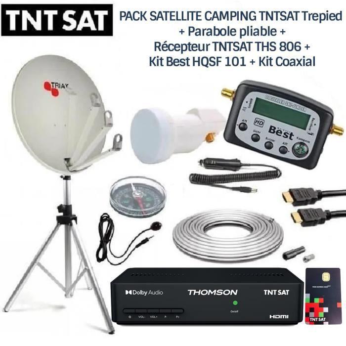 PACK SATELLITE CAMPING TNTSAT Trepied + Parabole pliable + Récepteur TNTSAT + Kit Best HQSF 101 + Kit Coaxial