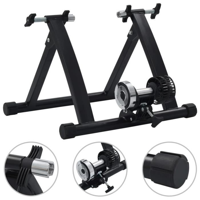 vidaXL Support à rouleau pour vélo d'appartement 26po-28po Acier Noir-X