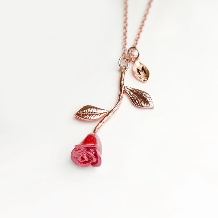 Womens Rose Gold Rose Necklace Pendant Initial Necklace Beauty And The Beast Jewelry For - 3ern (m KC7BO