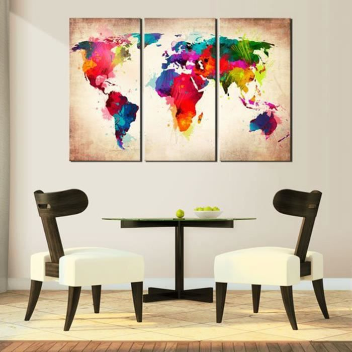 3pcs tableau toile murale graffiti carte du monde en for Decoration murale carte du monde