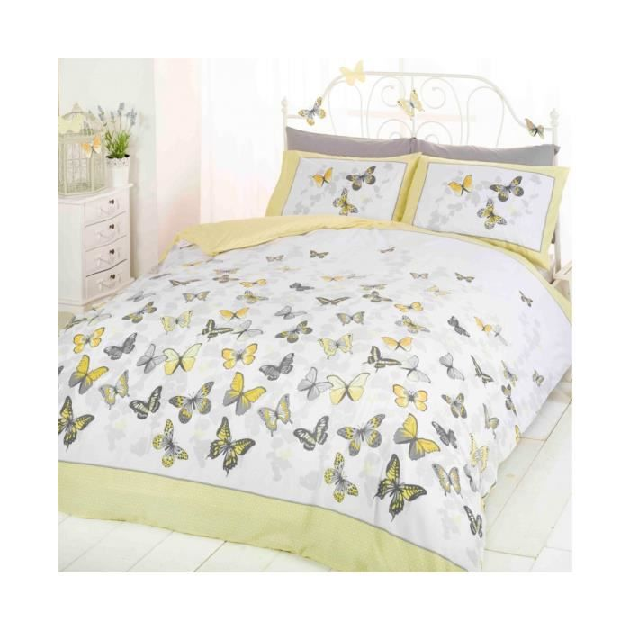 papillon flutter double housse de couette et taie d oreiller set citron achat vente housse. Black Bedroom Furniture Sets. Home Design Ideas