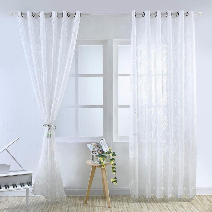 VOILAGE Rideau Voilage - 100x250 cm - Blanc