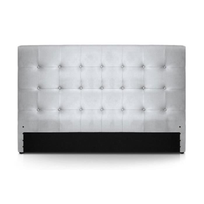 tete de lit 180 capitonne cuir pu argent romeo achat. Black Bedroom Furniture Sets. Home Design Ideas