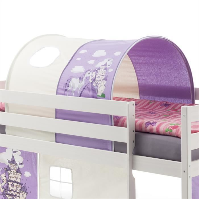 tunnel tente cabane pour lit sur lev coton motif princesse lilas blanc achat vente tente de. Black Bedroom Furniture Sets. Home Design Ideas