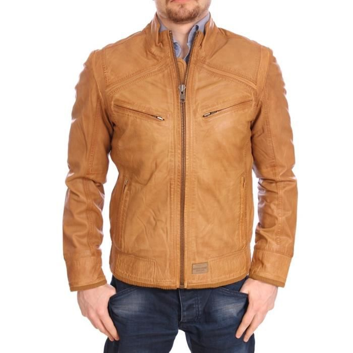 kaporal homme veste en cuir slim fit nolf camel marron achat vente blouson cdiscount. Black Bedroom Furniture Sets. Home Design Ideas