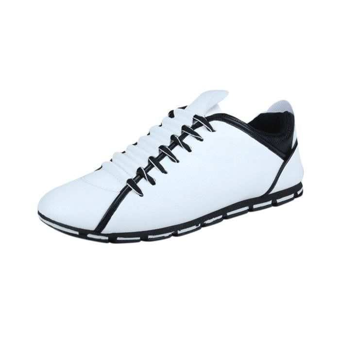 Nouveau Style Mode Hommes Casual Cuir Confortable Sneakers Respirant Chaussures Plates BjSnOdq