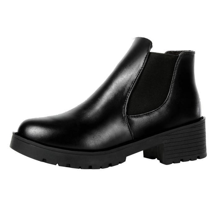 Mesdames Mode cheville court Martin Bottes moto Chaussures en cuir pour femme veberge@2882