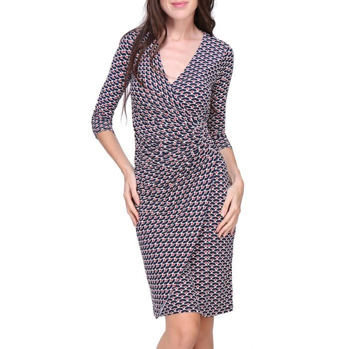 Revdelle Robe Cache Coeur Col V Made In France Manches Longues Pour Femme Myriam Bleu Achat Vente Robe Cdiscount