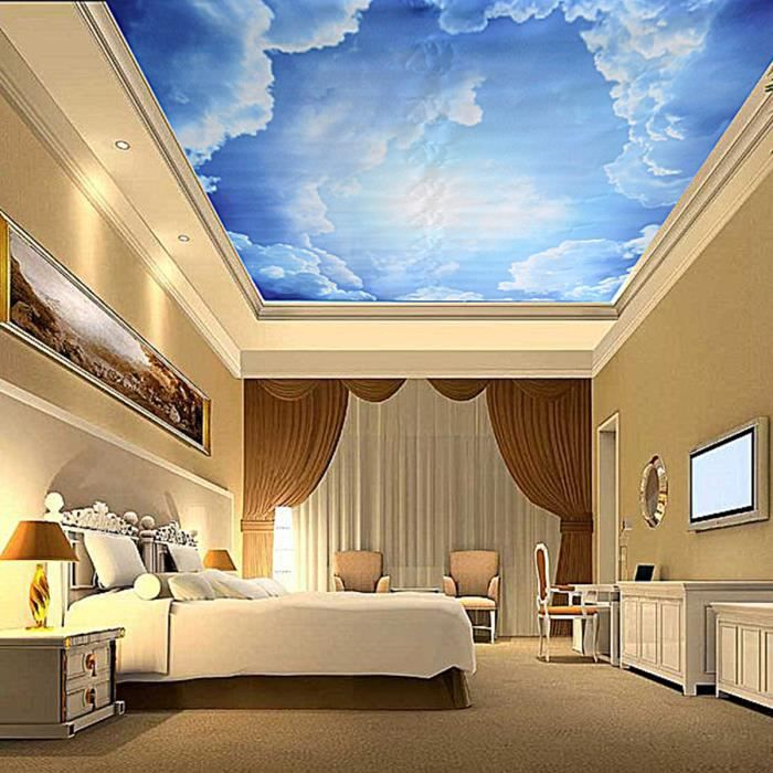 3d papier peint bleu ciel en toile autocollant murale plafond chambre salon deco achat vente. Black Bedroom Furniture Sets. Home Design Ideas