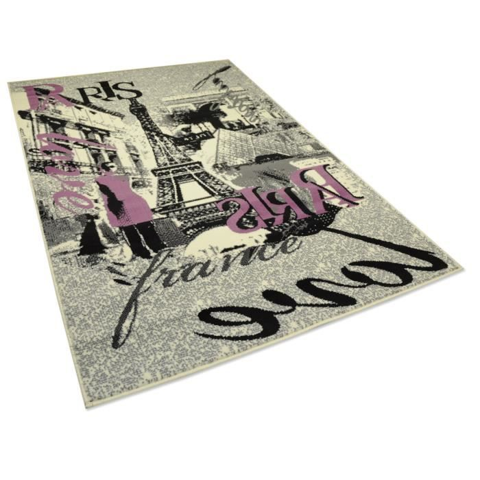 Tapis salon tour eiffel paris clair universol achat Achat tapis salon