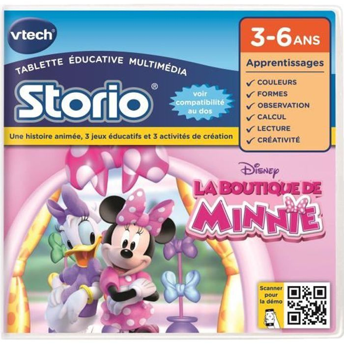 la boutique de minnie vtech jeu storio achat vente jeu console educative jeu storio 2. Black Bedroom Furniture Sets. Home Design Ideas