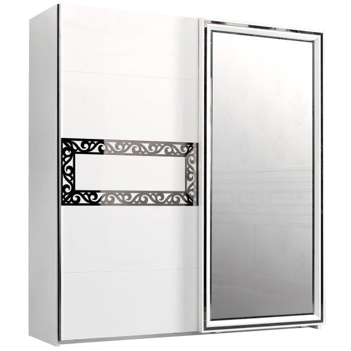 armoire 202x220 cm 1 porte miroir coulissante 1 porte. Black Bedroom Furniture Sets. Home Design Ideas