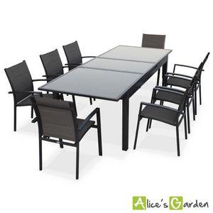Salon de jardin 8 fauteuils table à rallonge auto extensible ...