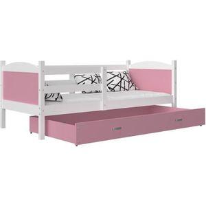 LIT COMPLET LIT ENFANT MATEO 190x90 BLANC + ROSE couleurs MDF