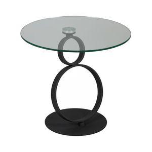 TABLE D'APPOINT Guéridon ronde 60 cm en verre trempé et acier
