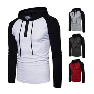 SWEATSHIRT Sweatshirt Homme Hoodie Raglan Streetwear Patchwor