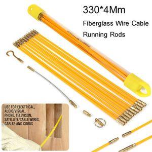 10 PCS Kit de Tige de Fil de C/âble en Fibre de Verre Isolation 33cm Bbaguettes Tire-fil avec Accessoires