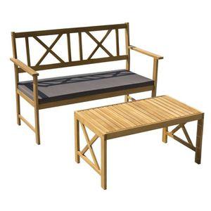 SALON DE JARDIN  Salon de jardin en bois d'acacia 2 personnes MANLY