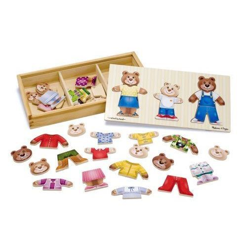 MELISSA & DOUG Puzzle En Bois De Vêtements Pour La Famille Ours