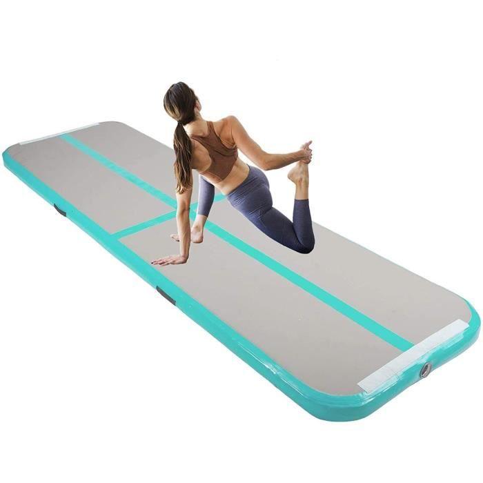 Tapis de Gymnastique Gonflable Airtrack Gymnastique PVC Tapis de Tumbling 500 x 100 x 10 cm sans Pompe pour Yoga/Taekwondo Vert