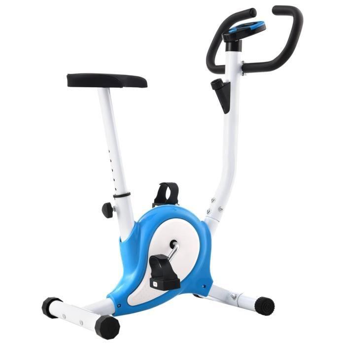 LIZ® Vélo d'appartement avec résistance à courroie Bleu et blanc
