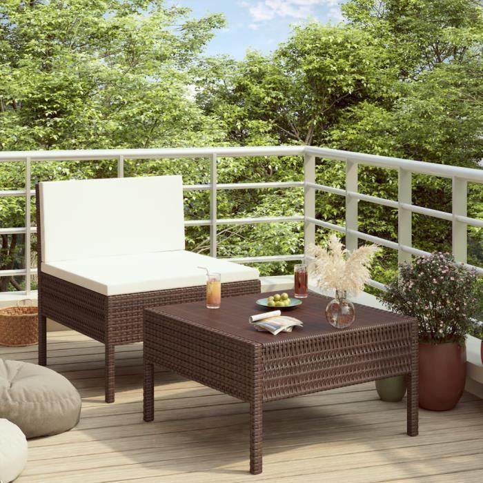 Lot de 2 Mobilier de jardin Meuble de jardin - Salon Bas De Jardin avec coussins Résine tressée Marron Excellent @398110