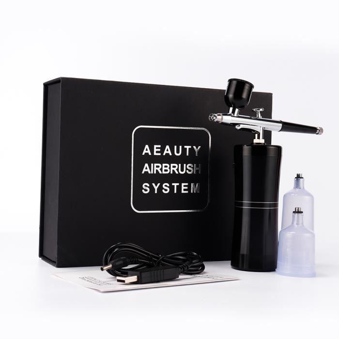 APPAREIL DE MASSAGE MANUEL,Double Action aérographe Kit compresseur Portable brosse à Air peinture pistolet hydratant - Type Black