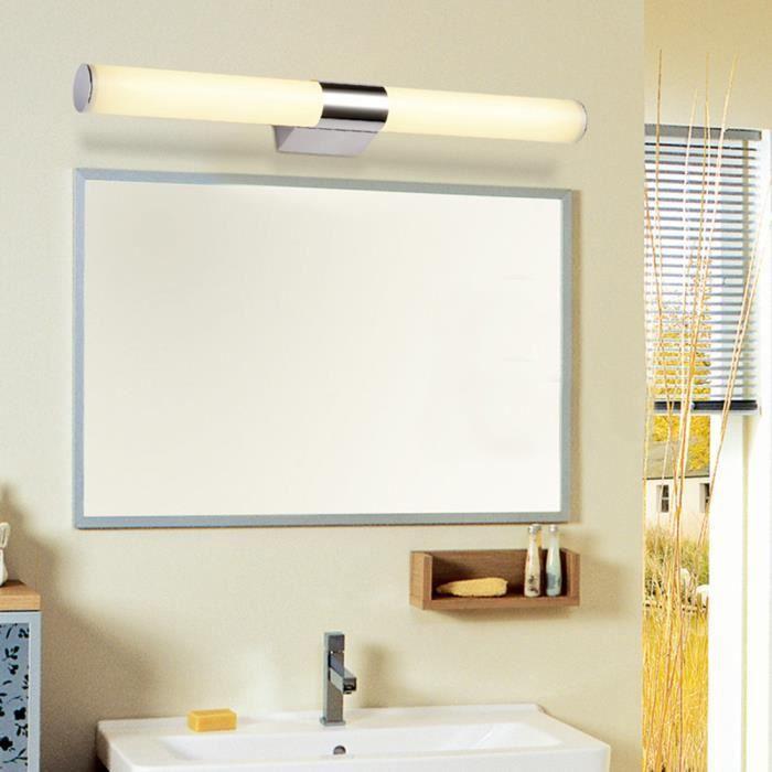 12W 60CM Lampe Led pour Miroir salle de bain Mural Maquillage avec eclairage Design en acier inox, Imperméable Anti-buée pour Maison