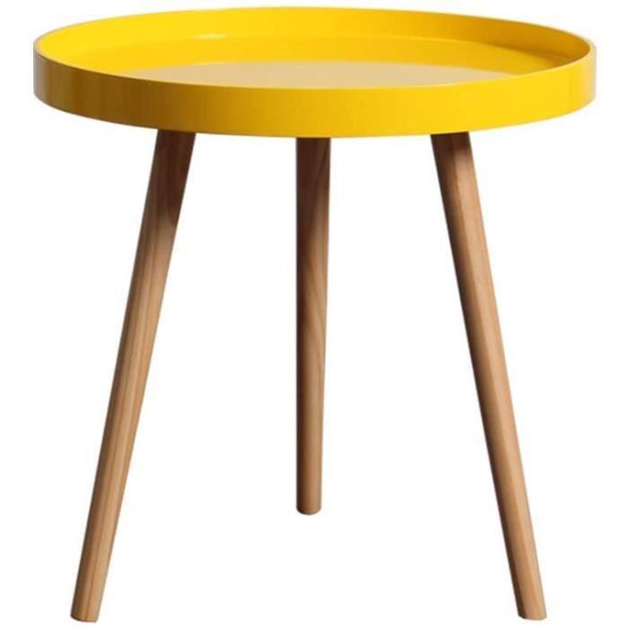 TAZZ-L Plateau Rond Table Basse Mini Mobile Petite Table Canapé Jaune-Gris Table Basse Table De Chevet en Bois Design Créatif A83