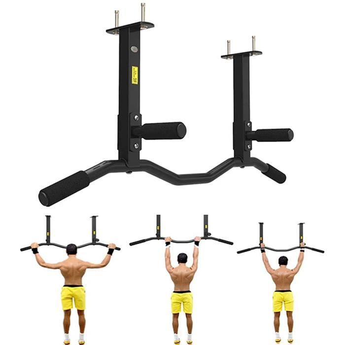 Barre de Tractions Barre de Fitness Fixation Murale Plafond Exercices Multi Grip Espace de Sauvegarde Max 200KG Matriel d[225]