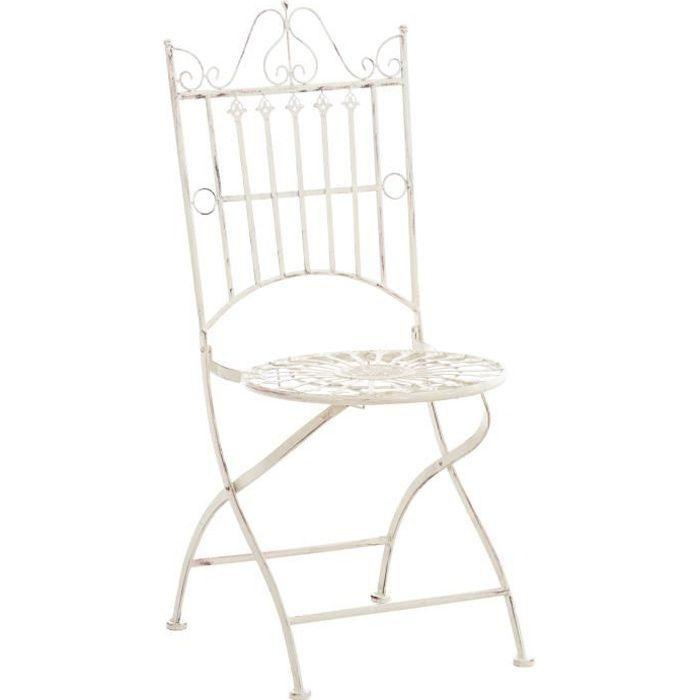 Chaise de Jardin Pliante Sadao en Fer forgé avec Hauteur d'Assise 44 cm [Crème antique]