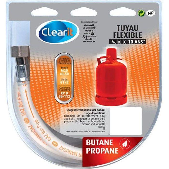 Tuyau flexible pour gaz Butane avec armature et embouts mécaniques à visser - 2 m