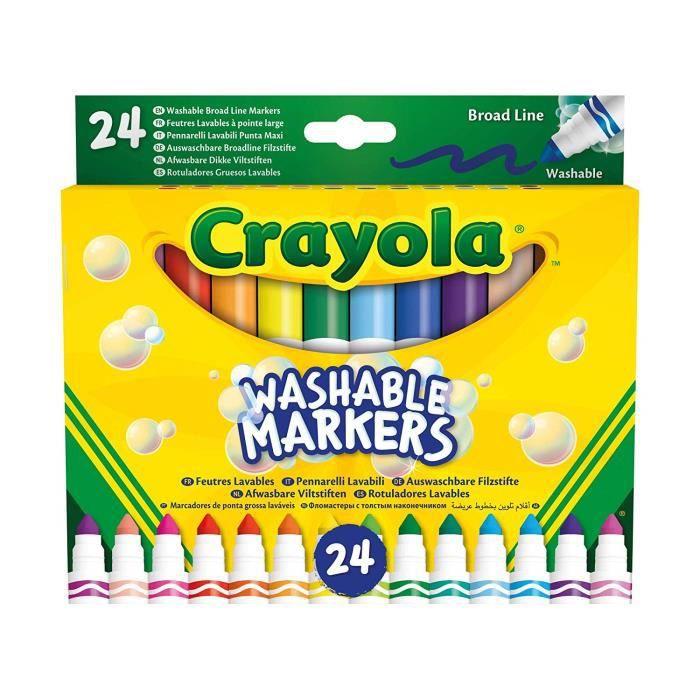 Crayola -24 marqueurs lavables, Pointe Maxi, Assortis, pour l'école et Temps Libre, Couleur, 58 ? 6570 - 58-6570